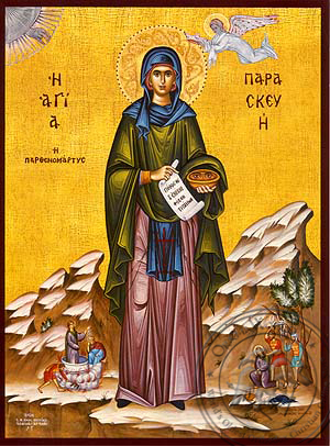 Saint Parasceve, the Great Martyr, of Rome, with Scenes from Her Life, Full Body - Hand Painted Icon