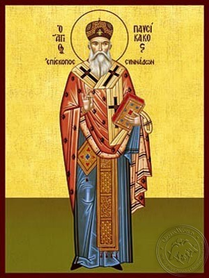 Saint Pausicacius Bishop of Synnada Full Body - Hand Painted Icon