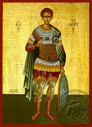 Saint Phanurius, the Great Martyr, Full Body - Hand Painted Icon