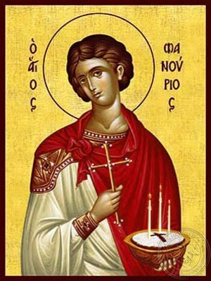 Saint Phanurius the Great Martyr with Pie - Hand Painted Icon