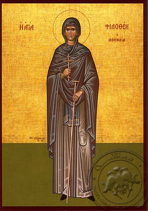 Saint Philothea, Nun-Martyr, of Athens, Greece, Full Body - Hand Painted Icon