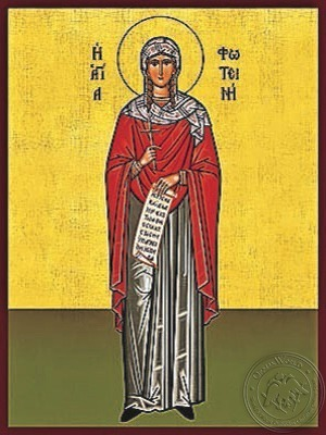 Saint Photina the Samaritan the Great Martyr with Scroll Full Body - Hand Painted Icon