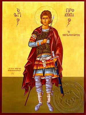 Saint Procopius, of Caesarea, the Great Martyr, Full Body - Hand Painted Icon