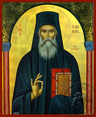 Saint Sabbas, the New, of Kalymnos, Greece - Hand Painted Icon