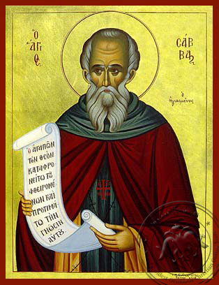Saint Sabbas, the Sanctified - Hand Painted Icon