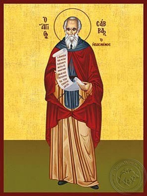 Saint Sabbas the Sanctified Full Body - Hand Painted Icon