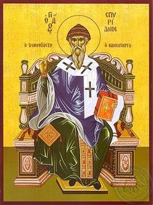 Saint Spyridon Bishop of Tremithon Cyprus Enthroned - Hand Painted Icon