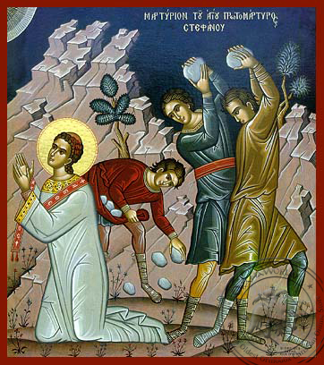 Saint Stephen, the First Martyr: The Martyrdom - Hand Painted Icon