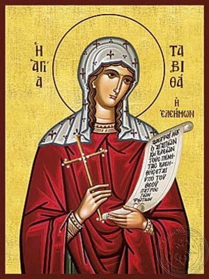 Saint Tabetha the Widow Raised From the Dead by the Apostle Peter - Hand Painted Icon