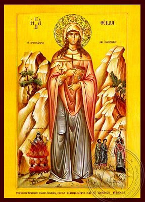 Saint Thecla, First Woman Martyr and Equal-To-The-Apostles, of Iconium, Full Body - Hand Painted Icon