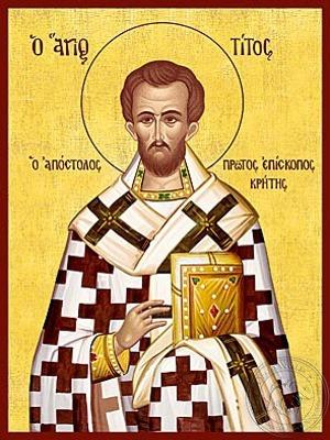 Saint Titus the Apostle Bishop of Crete Greece the Disciple of Saint Paul the Apostle - Hand Painted Icon