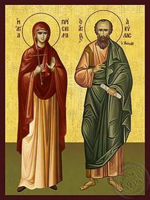 Saints Aquila and Priscilla the Apostles - Hand Painted Icon