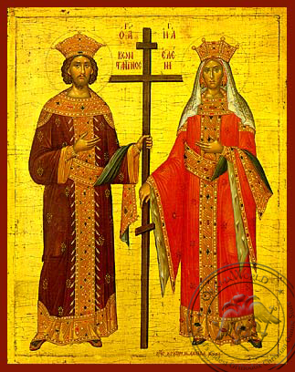 Saints Constantine and Helen, Full Body - Hand Painted Icon