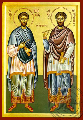 Saints Cosmas and Damian, the Holy Unmercenaries, Full Body - Hand Painted Icon