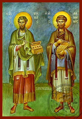 Saint Cosmas and Damian - Hand-Painted Icon