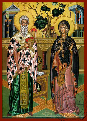 Saint Cyprian and Ioustine - Hand-Painted Icon