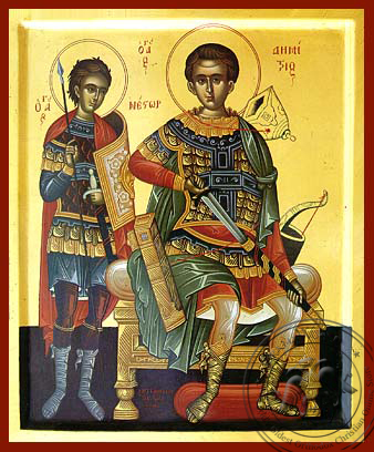 Saints Demetrius the Myrrh-Gusher Enthroned and Nestor - Hand Painted Icon