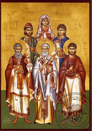 Saints Eustratius, Auxentius, Eugene, Mardarius, Orestes, Martyrs at Sebaste and Saint Lucy - Hand Painted Icon