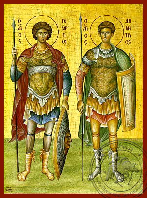 Saint George and Demetrios - Hand-Painted Icon