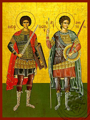 Saints George and Demetrius, Full Body - Hand Painted Icon