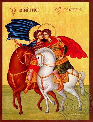 Saints George and Demetrius, on Horseback - Hand Painted Icon