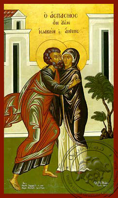 Saints Joachim and Anne, the Righteous Ancestors of God, the Embracement, Full Body - Hand Painted Icon