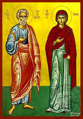 Saints Joachim and Anne, Righteous Ancestors of God, Full Body - Hand Painted Icon
