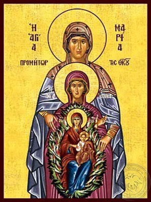 Saints Maria and Anne the Righteous Ancestors of God with Virgin and Christ - Hand Painted Icon