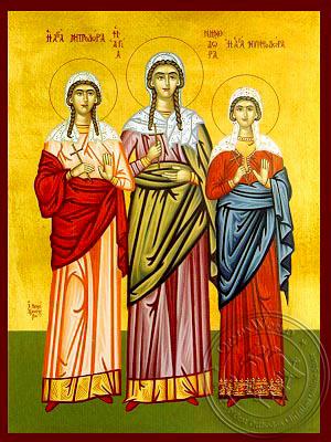 Saints Menodora, Metrodora and Nymphodora, at Nicomedia, Full Body - Hand Painted Icon