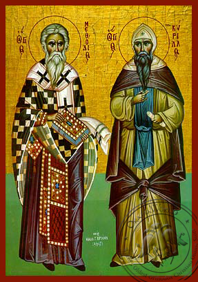 Saint Methodius and Cyril - Hand-Painted Icon