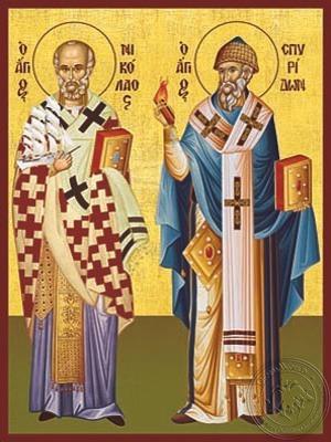 Saints Nicholas Archbishop of Myra in Lycia and Spyridon Bishop of Tremithon Full Body - Hand Painted Icon
