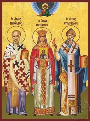 Saints Nicholas Archbishop of Myra in Lycia Theodora the Empress of Byzantium and Spyridon Bishop of Tremithon Cyprus Full Body