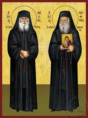 Saints Paisios of the Holy Mountain and Porfyrios Kafsokalybites Full Body - Hand Painted Icon