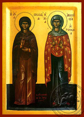 Saint Pelagia and Anastasia of Rome - Hand-Painted Icon