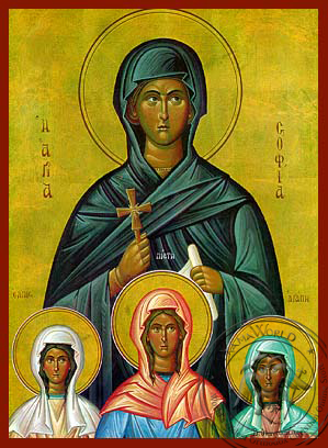 Saints Sophia and Daughters, Faith, Hope and Love, Full Body - Hand Painted Icon
