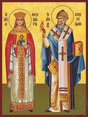 Saints Theodora Empress of Byzantium and Spyridon Bishop of Tremithon of Cyprus Full Body - Hand Painted Icon
