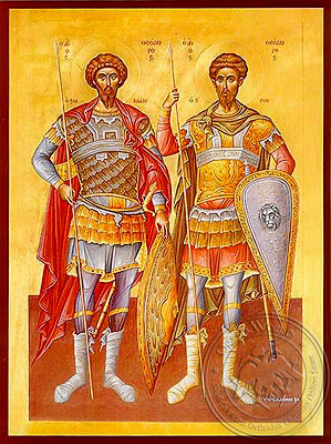 Saints Theodores the Great Martyrs, Tyro and Stratelates, Full Body - Hand Painted Icon