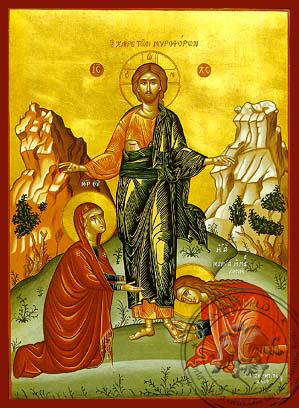 The Salutation to the Myrrh-Bearing Women - Hand-Painted Icon