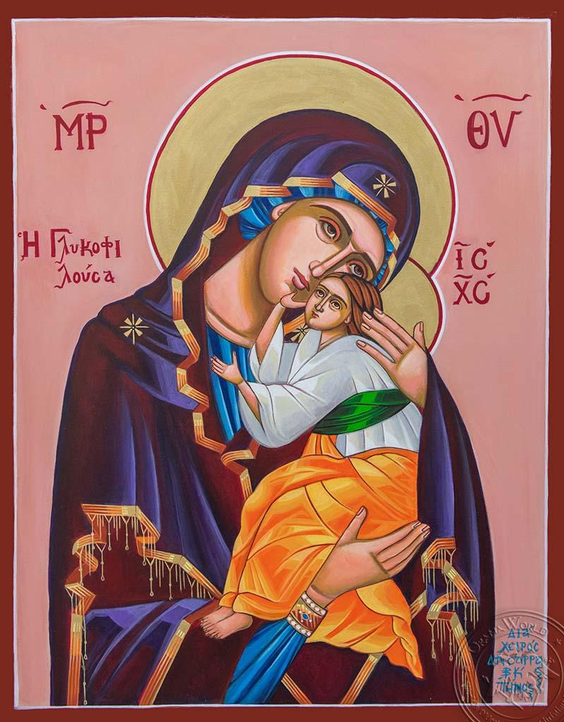 Panagia Glykofilousa - Reproduction of Original Modern Icon