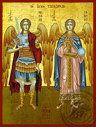 Michael and Gabriel the Holy Archangels - Hand-Painted Icon