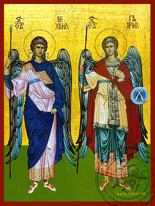 Synaxis of the Holy Archangels Michael and Gabriel, Full Body - Hand Painted Icon