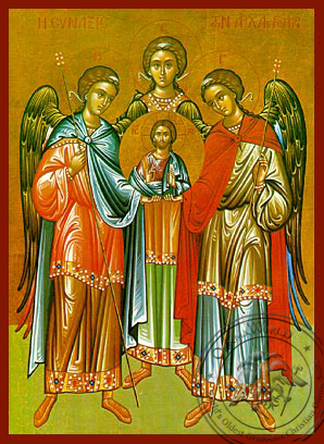 Synaxis of the Holy Archangels Michael, Gabriel and Raphael, Full Body - Hand Painted Icon