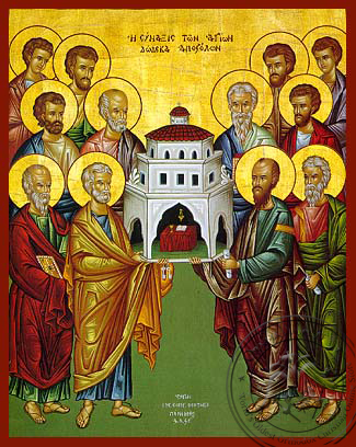 Synaxis of the twelve Saint Apostles - Hand-Painted Icon