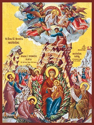 The Unburning Bush and Holy Prophet Moses - Hand Painted Icon