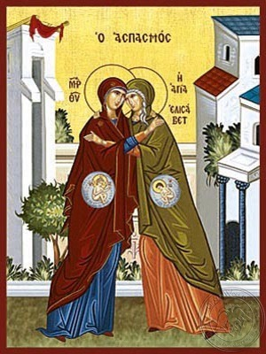 Theotokos and Saint Elisabeth the Embracement - Hand Painted Icon