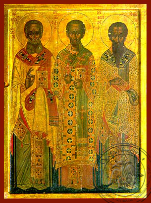 Three Holy Hierarchs, Saints Basil the Great, Gregory the Theologian, John the Chrysostom, Full Body - Hand Painted Icon