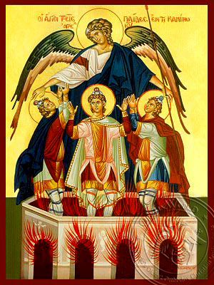 Three Holy Infants in the Furnace - Hand-Painted Icon
