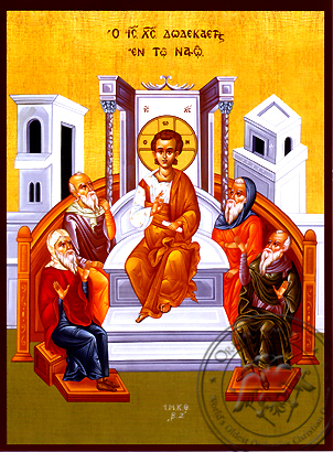 Twelve-Year-Old Jesus in the Temple - Hand Painted Icon