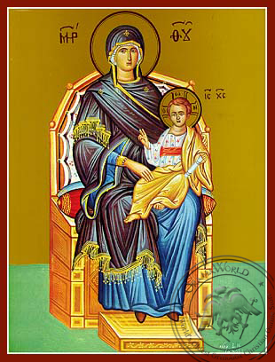 Virgin and Child, Enthroned - Hand Painted Icon