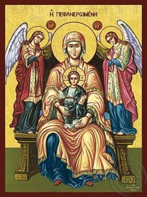 Virgin and Child Enthroned Pefaneromene of Lefkas - Hand Painted Icon